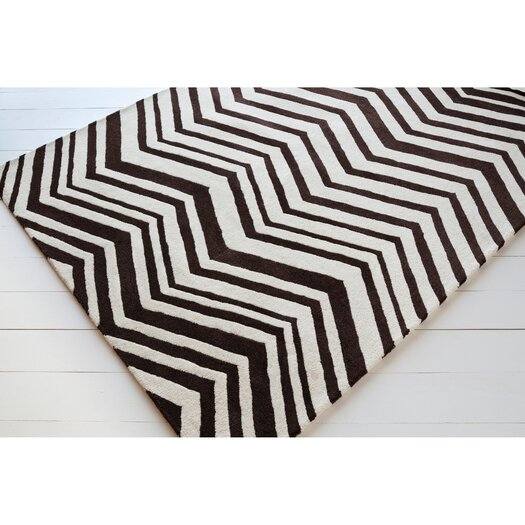 Chandra Rugs Davin Vibes Pattern Black/Ivory Area Rug