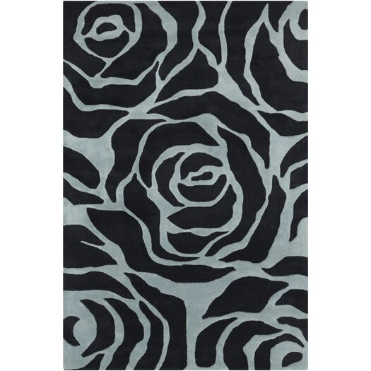 Chandra Rugs INT Black/Light Blue Floral Area Rug