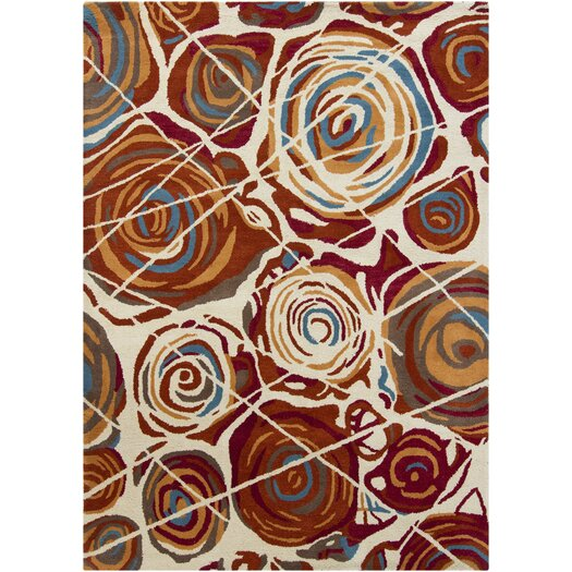 Chandra Rugs Gagan White/Red Area Rug