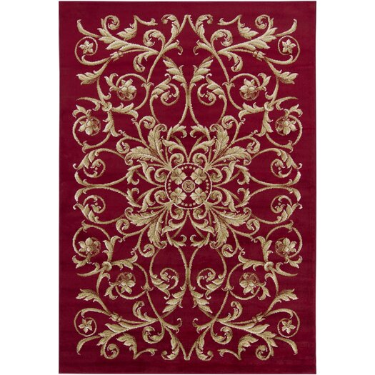 Chandra Rugs Taj Red Floral Area Rug