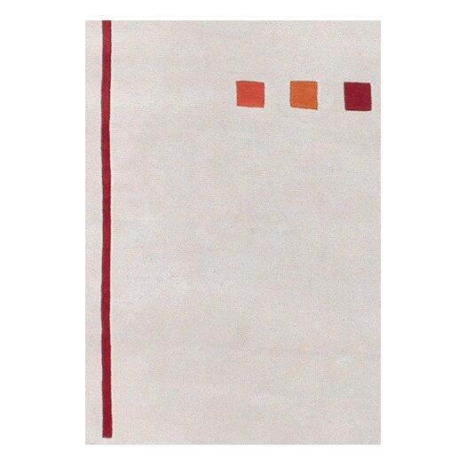 Chandra Rugs Bense Garza White & Red Area Rug