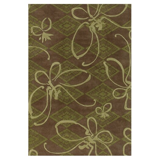 Chandra Rugs Venitian Butterfly Brown/Green Novelty Rug