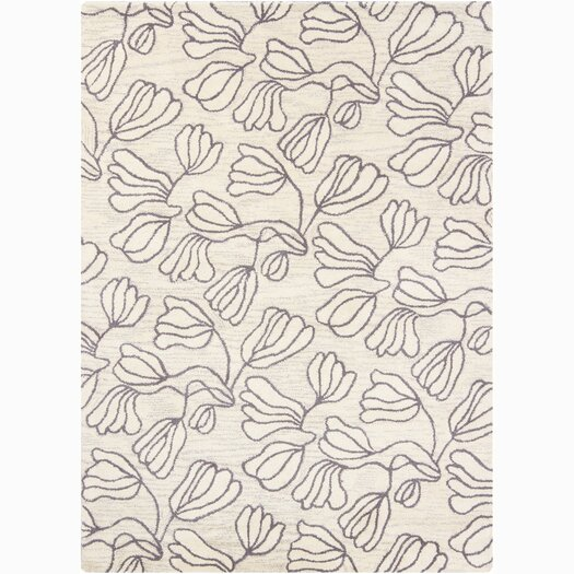 Chandra Rugs Bajrang White Floral Area Rug