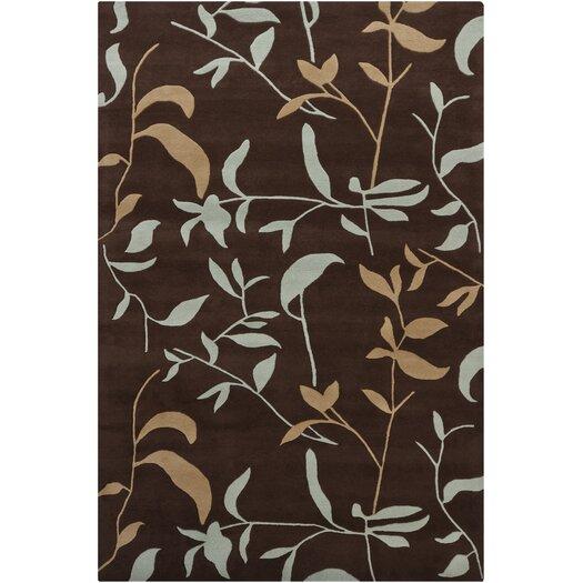 Chandra Rugs Hanu Leaves Brown Floral Area Rug
