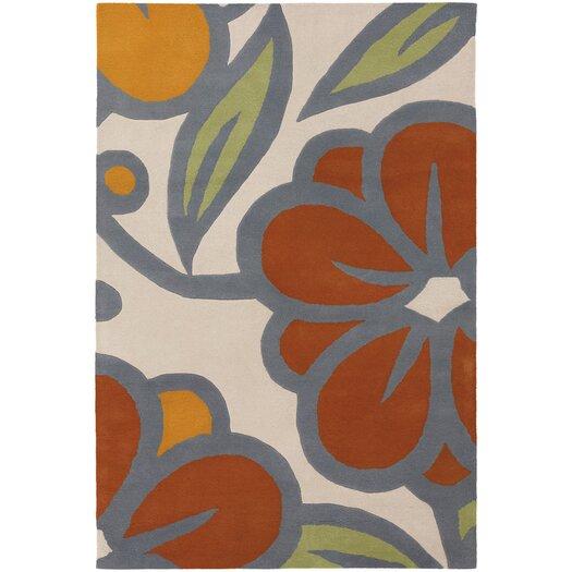 Chandra Rugs Inhabit Designer Ivory/Orange Area Rug