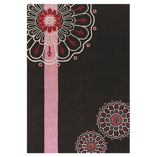 Chandra Rugs Dharma Black/Pink Area Rug
