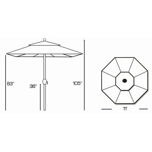 Galtech International 11' Classic Teak Market Umbrella