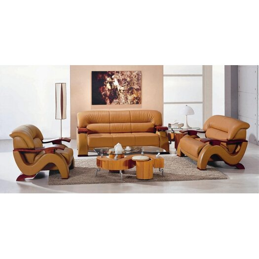 Hokku Designs Chrysocolla 3 Piece Leather Sofa Set