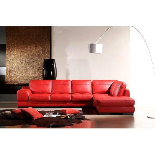 Hokku Designs Galway Leather Sectional Sofa