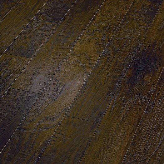 "Shaw Floors World Tour 5"" Engineered Handscraped Hickory Flooring in Umber"