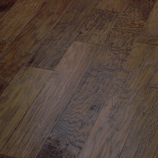 "Shaw Floors World Tour 5"" Engineered Handscraped Hickory Flooring in Trail"