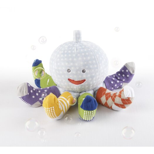 "Baby Aspen ""Mr. Sock T. Pus"" Plush Octopus with 4 Pairs of Socks in Blue"