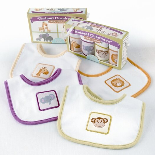 Baby Aspen ''Animal Crackers for Messy Snackers'' 4-Piece Bib Set