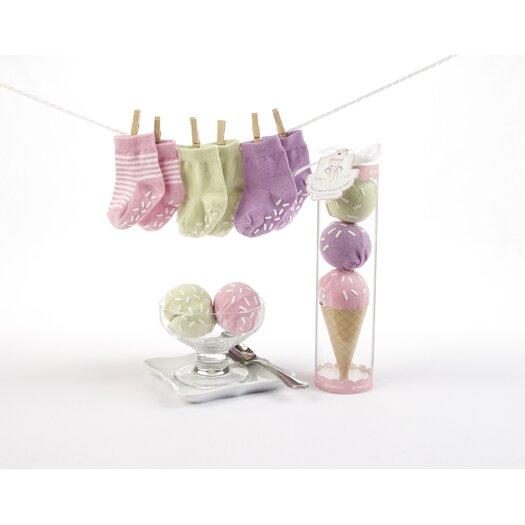 "Baby Aspen ""Sweet Feet"" Three Scoops of Socks Gift Set in Pink"