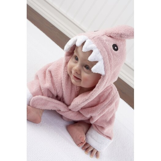 "Baby Aspen ""Let the Fin Begin"" Shark Robe in Pink"