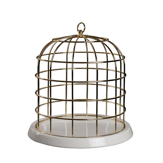 Seletti Twitable Decorative Metal Birdcage with Porcelain Base