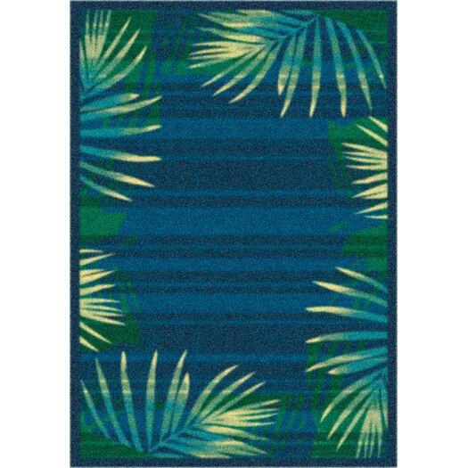 Milliken Modern Times Palm Blue Grey Area Rug