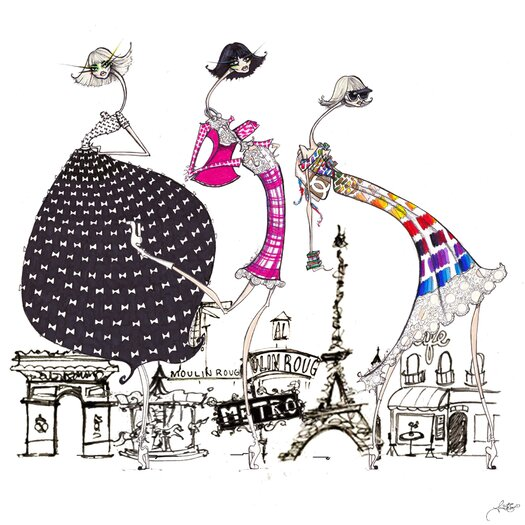 Paris in Threes Painting Print on Canvas