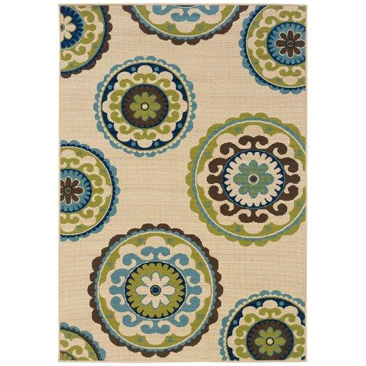 Oriental Weavers Caspian Ivory / Green Indoor / Outdoor Area Rug