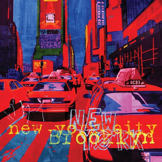 NY Red Graphic Art on Canvas