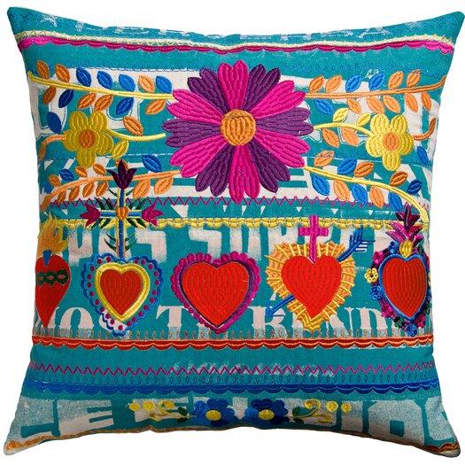 Koko Company Mexico Cotton Hearts Print Pillow