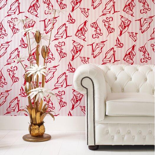 Graham & Brown Barbara Hulanicki Flock Shoes Flocked Wallpaper
