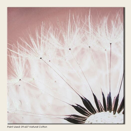 Delicate Dandelion with Glitter Painting Print on Canvas