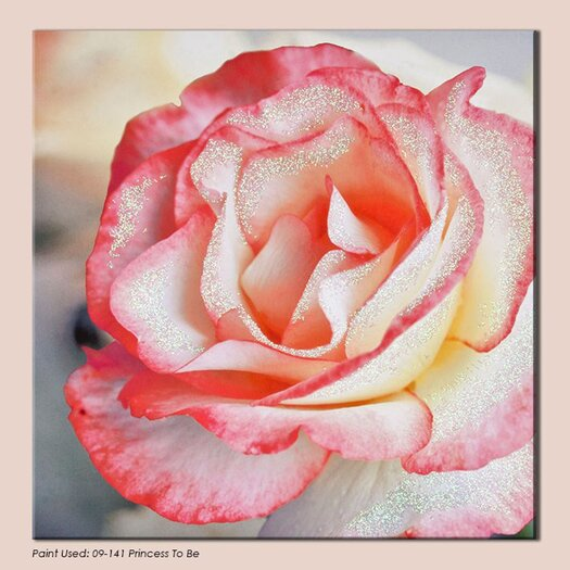 Pink Petal Rose with Glitter Photographic Print on Canvas