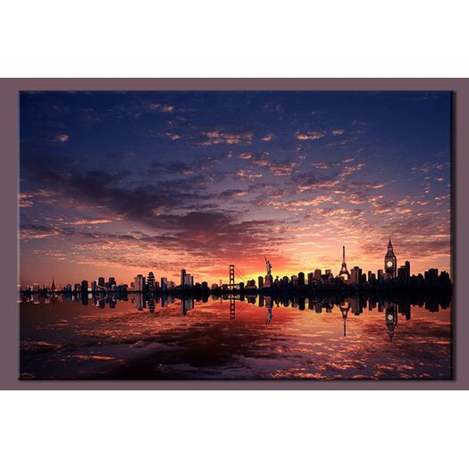 Cities Sunrise Photographic Print on Canvas