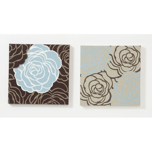 Graham & Brown Avalanche Roses 2 Piece Graphic Art on Canvas Set