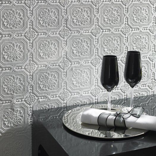 Graham & Brown Paintable Damask Embossed Tiles Wallpaper