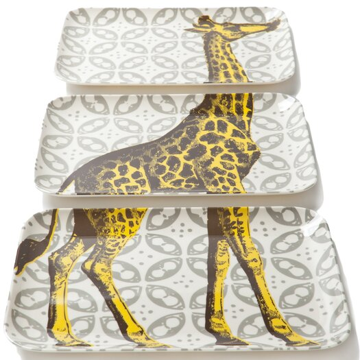 Thomas Paul Bazaar 3 Piece Giraffe Serving Tray Set