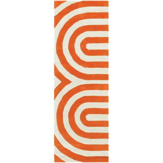 Thomas Paul Tufted Pile Orange Geometric Rug
