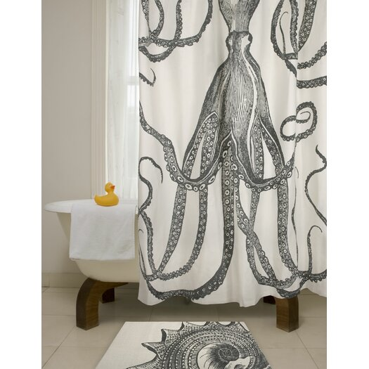Thomas Paul Bath Octopus Shower Curtain in Charcoal