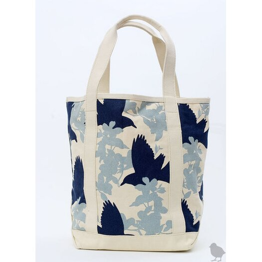 Large Crows Tote in Grey/Navy