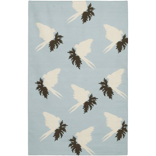 Thomas Paul Flat-weave Dhurrie Area Rug Blue/Cream Swallows Area Rug