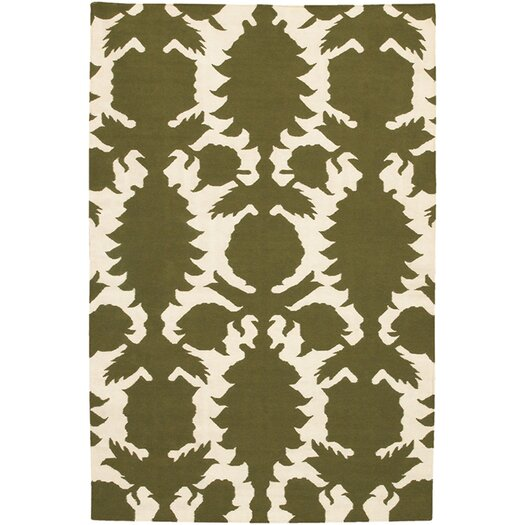 Flatweave Dhurrie Area Rug Green/Cream Flock Area Rug