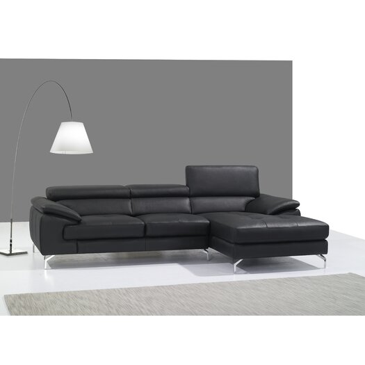 Italian Leather Mini Sectional Right Facing Chaise