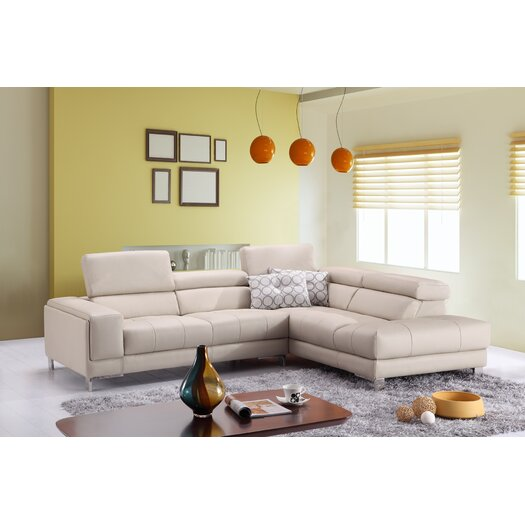 Italian Leather Right Hand Facing Chaise Sectional
