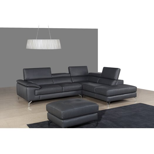 Italian Leather Sectional Right Facing Chaise