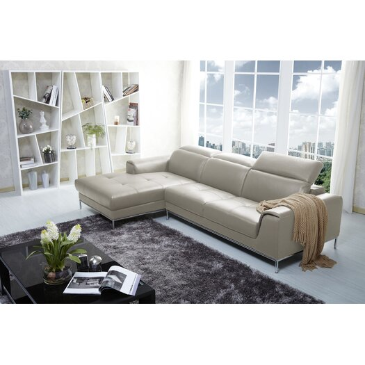 Italian Leather Sectional Left Hand Facing