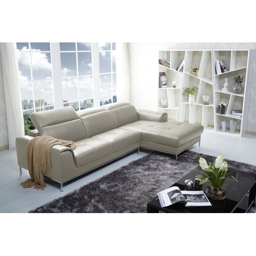 Italian Leather Sectional Right Hand Facing