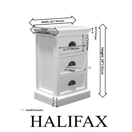 Infinita Corporation Halifax 3 Drawer Nightstand