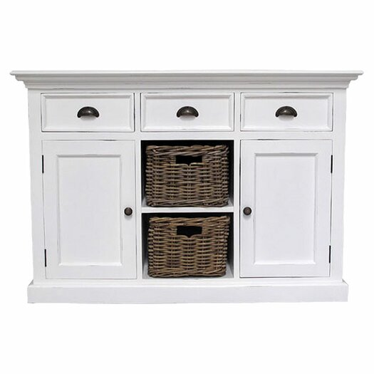 Infinita Corporation Halifax 3 Drawer Buffet Dresser with 2 Rattan Baskets
