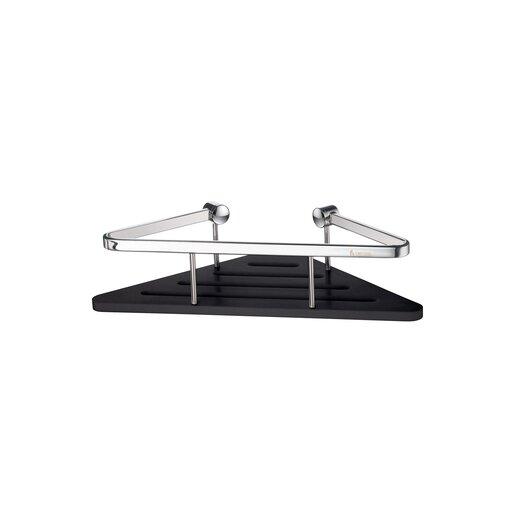 Smedbo Sideline Corner Soap Basket with Black Solid Surface in Polished Chrome