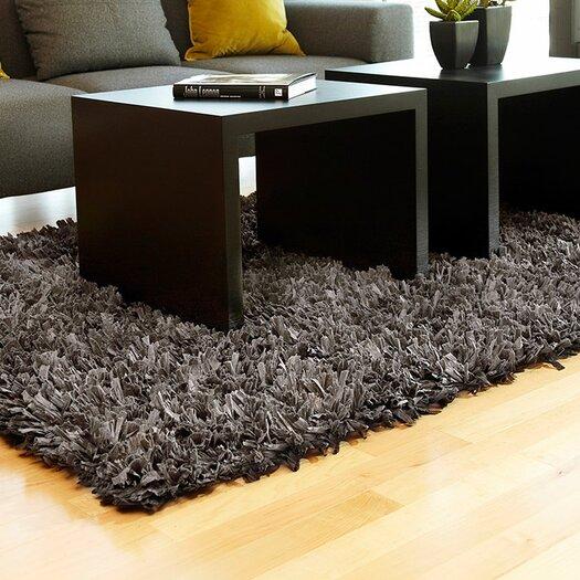 Anji Mountain Black/Gray Shag Solid Area Rug