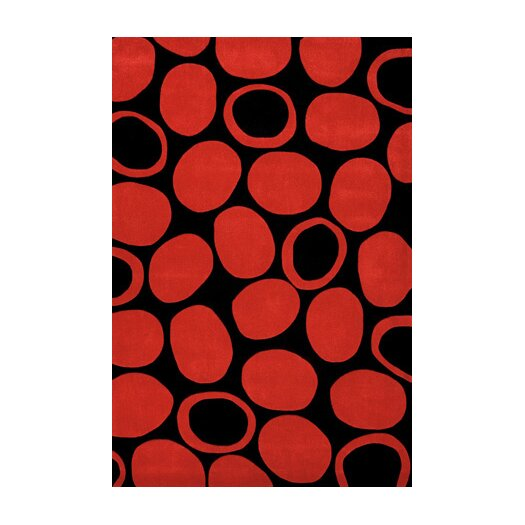 Foreign Accents Festival Black/Deep Red Area Rug