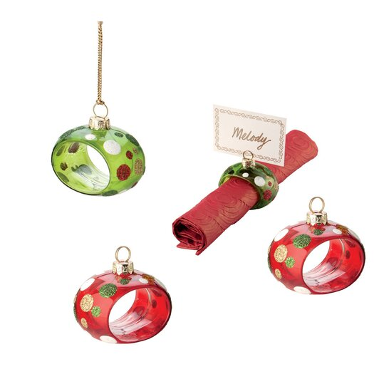 Boston International 4 Piece Dot Ornament and Napkin/Place Card Holder Set
