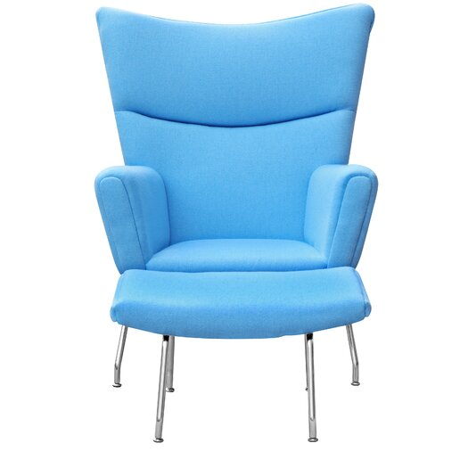 Wing Lounge Side Chair and Ottoman Set