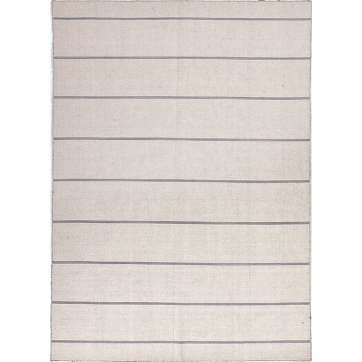 Jaipur Rugs C. L. Dhurries Ivory/Gray Stripe Area Rug